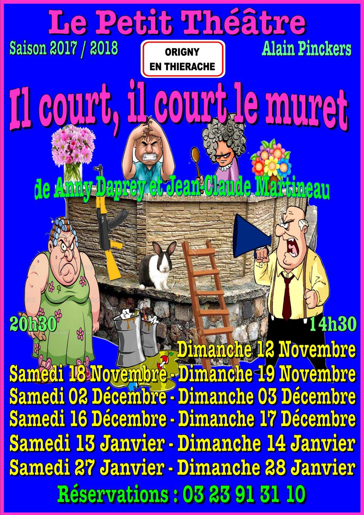 AFFICHE 2017-2018 - IL COURT IL COURT LE MURET - FOND BLEU - CLIPART - 11 DATES